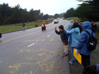 Kids photographing the race